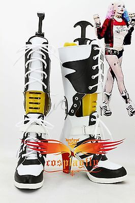 2016 Film Suicide Squad Harley Quinn Boots Cosplay Shoes Custom Aize For Adult