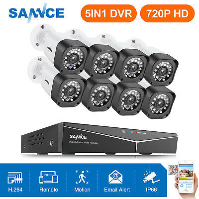 SANNCE 8CH 1080N HDMI DVR Outdoor Dome Night 1500TVL CCTV Security Camera System