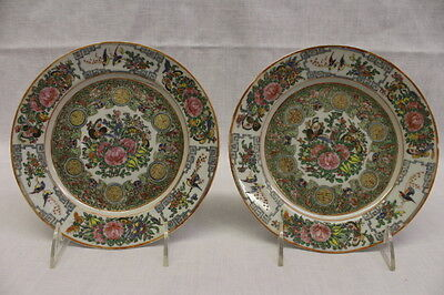 """Pair of Antique Hand Painted Chinese ROSE MEDALLION Porcelain 7.5"""" Plates"""