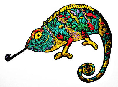 cute pretty colorful salamander gecko embroidered iron on patch free