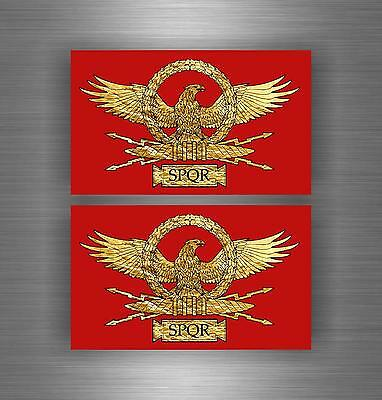 2x Autocollant sticker voiture moto macbook drapeau empire romain rome spqr