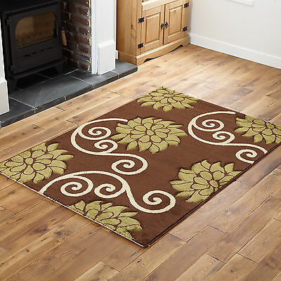 Quality Modern Small To Large Carved Rug Brown Green Floral Design Rugs Runners