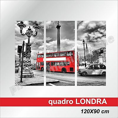 Quadri Moderni Tela Canvas Londra London Bus Inghilterra Uk England  120X90 3Pz