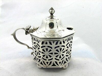 STERLING MUSTARD POT PIERCED w COBALT LINER HORACE WOODARD 1905 !LOVELY!