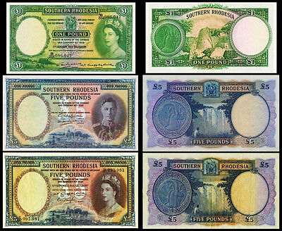 !copy! Southern Rhodesia £1 1953 £5 1955 £5 1938 Pound Banknotes !not Real!