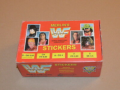 1992 MERLIN WWF Full Box 100 Packets 600 stickers Hulk Hogan Hit Man Undertaker