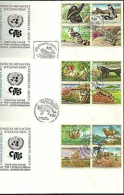 3 first day covers of the u.n. postal administration endangered species cites