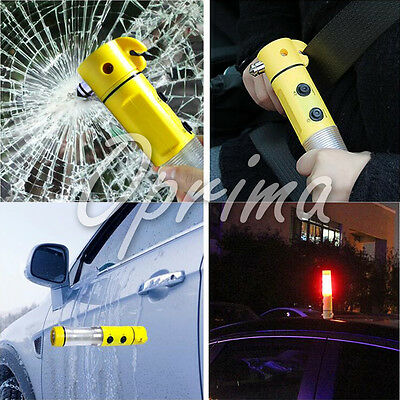 4 in 1 Multi-Function Car Safety Emergency Escape Hammer LED Warning Torch