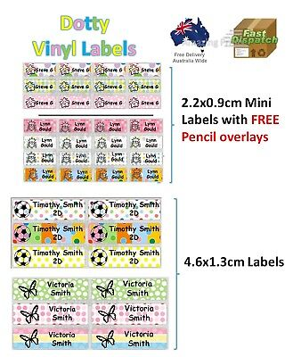Dotty Vinyl Personalised Name Label Sticker school book tag custom Mixed Colour