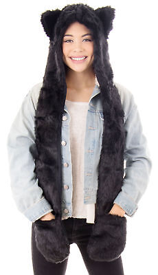 Full Animal Hood Hoodie Hat Cap with Paw Mittens Gloves Faux Fur 3 in 1