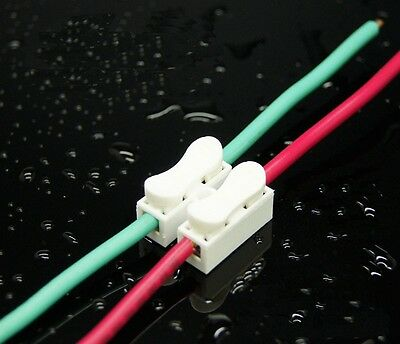 HOT 100Pcs 10A 2 Way LED Ceiling Quick Fix Spring Clamp Terminal Block Connector