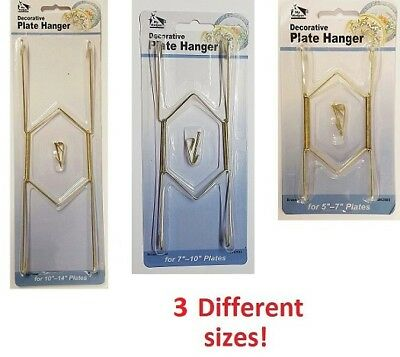 Decorative Plate Hangers in 3 Sizes Display Brass Plated Invisible Wire NEW  sc 1 st  PicClick & DECORATIVE PLATE Hangers in 3 Sizes Display Brass Plated Invisible ...