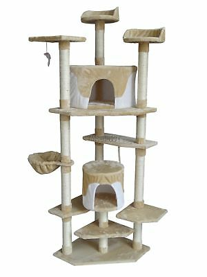 FoxHunter Kitten Cat Tree Scratching Post Sisal Toy Activity Centre Beige CAT092