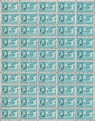 1950 - INDIANA TERRITORY - Vintage Full Mint Sheet of 50 U.S. Postage Stamps