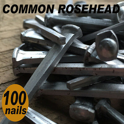 "2"" COMMON ROSEHEAD NAILS ~ Rustic-Vintage-Authentic Cut Nail   ~ QTY (100)"