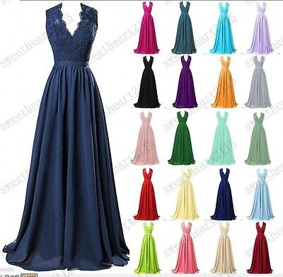 New Long Chiffon Evening Formal Party Ball Gown Prom Bridesmaid Dress Size 6-24