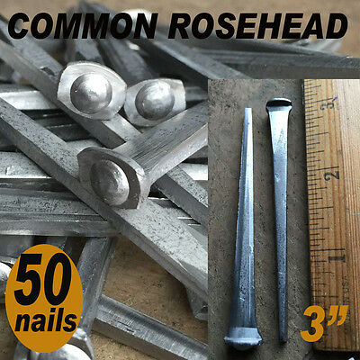 "3"" COMMON ROSEHEAD NAILS ~ Rustic-Vintage-Authentic Cut Nail   ~ QTY (50)"