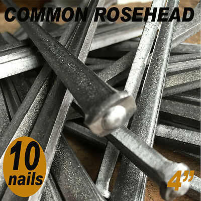 "4"" COMMON ROSEHEAD NAILS ~ Rustic-Vintage-Authentic Cut Nail   ~ QTY (10) 20d"