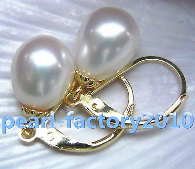 NEW 9X11MM south sea white  pearl earrings 14K  GOLD