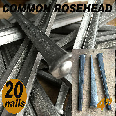 "4"" COMMON ROSEHEAD NAILS ~ Rustic-Vintage-Authentic Cut Nail   ~ QTY (20) 20d"