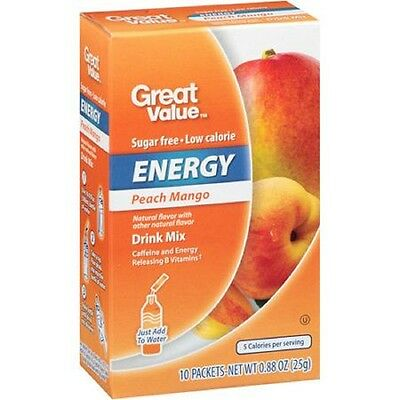 Great Value Peach Mango Energy On The Go ~ Drink Mix Water Enhancer ~ 10 ct.