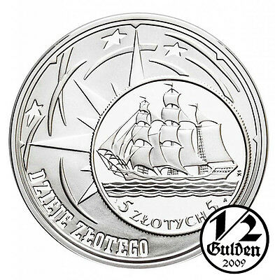 POLAND 10 Zlotych 2005 1936 Sailing Vessel Silver Proof Coin Polish Mint