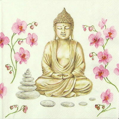 4x Paper Napkins -Buddha- for Party, Decoupage Decopatch