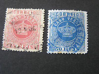 *CAPE VERDE, SCOTT # 4+14(2), 25r+50r. VALUES 1877-85 PORTUGAL CROWN ISSUE USED