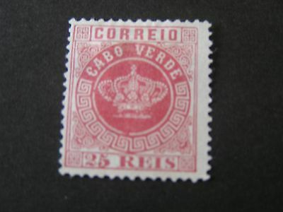 *CAPE VERDE, SCOTT # 4, 25r. VALUE ROSE 1877 PORTUGAL CROWN ISSUE MNG