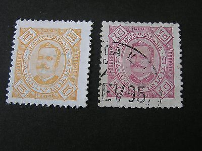 *CAPE VERDE, SCOTT # 24/25(2), 5r+10r. VALUES 1894-95 KING CARLOS ISSUE USED