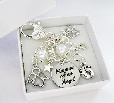 White - Mummy of an Angel * BAG CHARM *babyloss,SIDS,memorial,loss,bereaved,mum