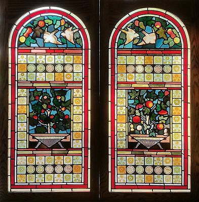 Pr. Antique American Floral Aesthetic Stained Glass Windows with Birds
