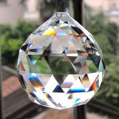 20mm 0.8in Clear Glass Crystal Ball Prism Lamp Lighting Pendant Decor #$