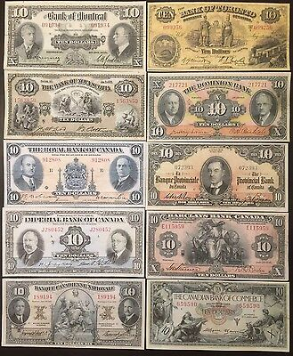 Reproduction Copies 10 Different Chartered Banknotes 1934-1938 Montreal Toronto+