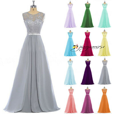 Stock New Formal Prom Party Ball Gown Evening Long Lace Wedding Bridesmaid Dress