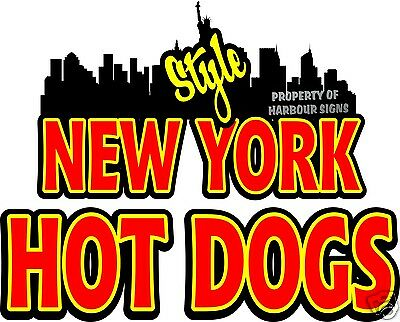 """New York Style Hot Dogs Decal 14"""" Concession Restaurant  Food Truck Sign Sticker"""