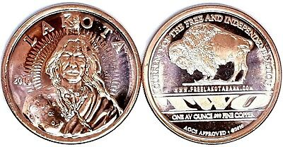AMERICAN INDIAN LAKOTA BULLION COIN ROUNDS 999 COPPER 1 oz. STUNNING PURE METAL