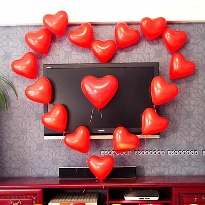 100PCS Red Heart Balloons Valentines Day Wedding Engagement Decorations
