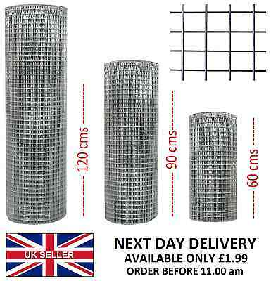 "1/2"" x 1/2"" Welded Wire Mesh Aviary Fencing Chicken Rabbit Garden Galvanised"