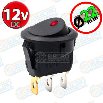 Interruptor ON OFF con LED 12v ROJO 22mm 16A redondo SPST coche car luz SPST