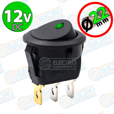 Interruptor ON OFF con LED 12v VERDE 22mm 16A redondo SPST coche car luz SPST