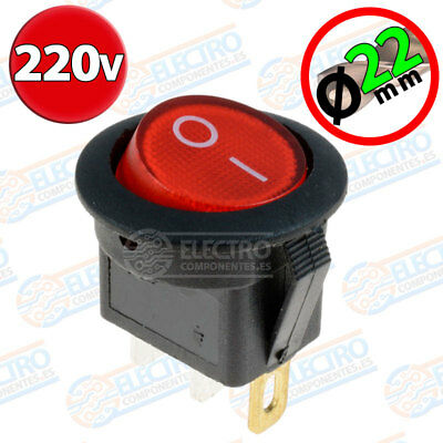 Interruptor ON OFF con luz 220v ROJO Redondo 22mm SPST 6A 220v