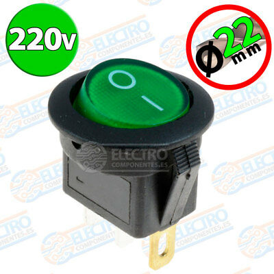 Interruptor ON OFF con luz 220v VERDE Redondo 22mm SPST 6A 220v