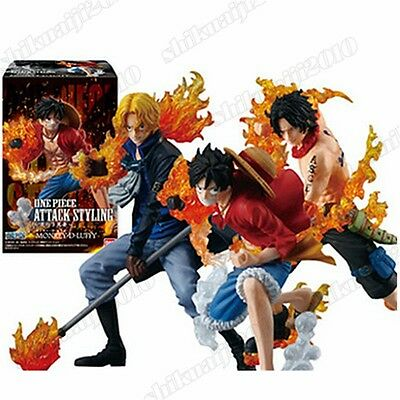 Anime One Piece Attack Styling Luffy Ace Sabo Brother 3pcs PVC Figure New in Box