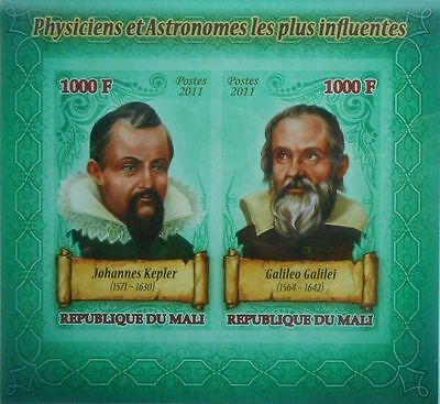 Physicists and astronomers #3 Kepler, Galileo Galilei Mali 2011 s/s IMPERF #P089