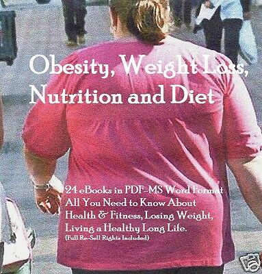 CD- Obesity, Weight Loss & Fitness - 24 eBooks (Resell Rights)