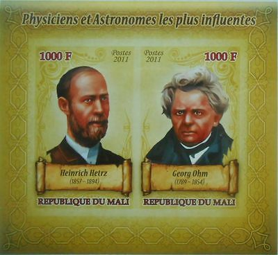 Physicists and astronomers #16 H. Hertz, G. Ohm Mali 2011 s/s IMPERF #P102