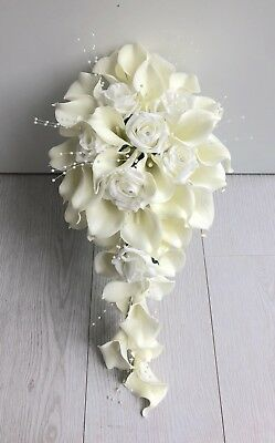 Artificial Flowers Ivory Calla Lily Rose Wedding Shower Teardrop Bride Bouquet