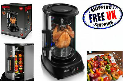 Tower Electric Rotating Vertical Rotisserie Grill Kebab Chiken Skewer BBQ Cooker