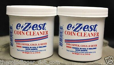 2 ✯ E-Z-EST Silver Gold Copper Coin Bullion Jewelry Cleaner 5oz Jar E-ZEST ✯